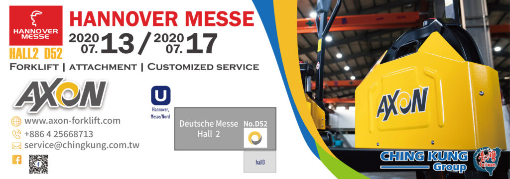 AXON forklift will participate 2020 HANNOVER MESSE in Germany.